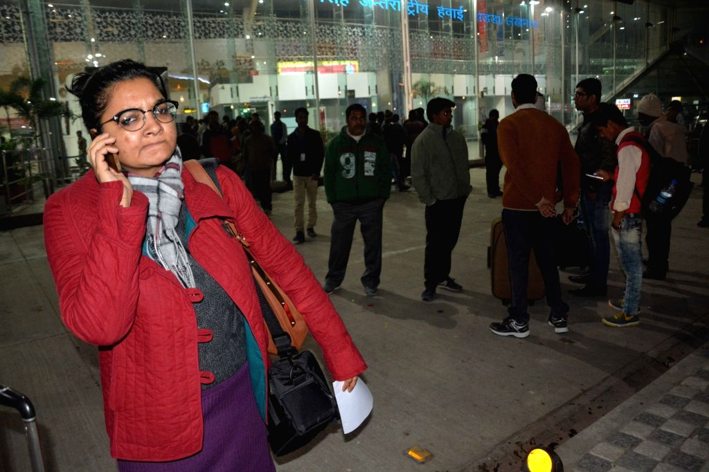 People stranded at Lucknow airport after a radar facilitating take off and landing of aircrafts developed a technical snag in Lucknow, on Jan 14, 2017.