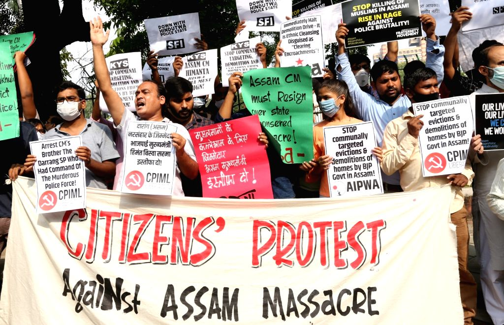 People take part in a protest demonstration against Assam Government over Thursdays violence during an eviction drive in Assam  in new Delhi on Saturday, September 25, 2021.