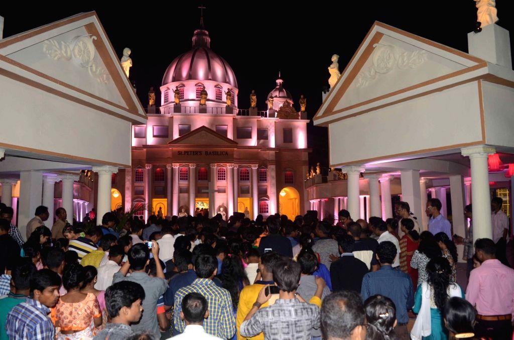 People throng a Kali Puja pandal in Barasat, near Kolkata on Oct 30, 2016.