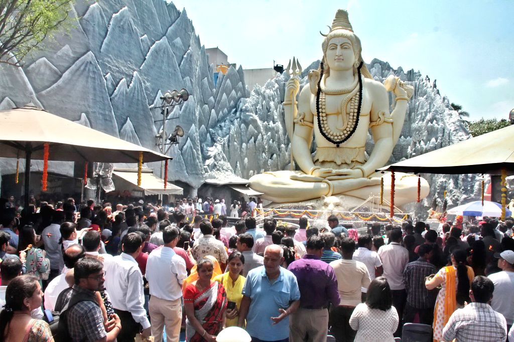 People throng Shivoham Shiva Temple on Maha Shivratri, in Bengaluru, on March 4, 2019.