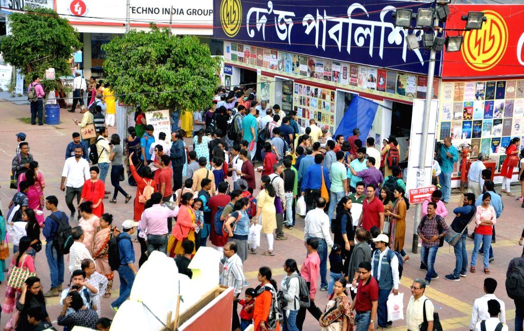 People throng the venue of the sixth Kolkata Literature Festival - 43rd International Kolkata Book Fair, on Feb 9, 2019.