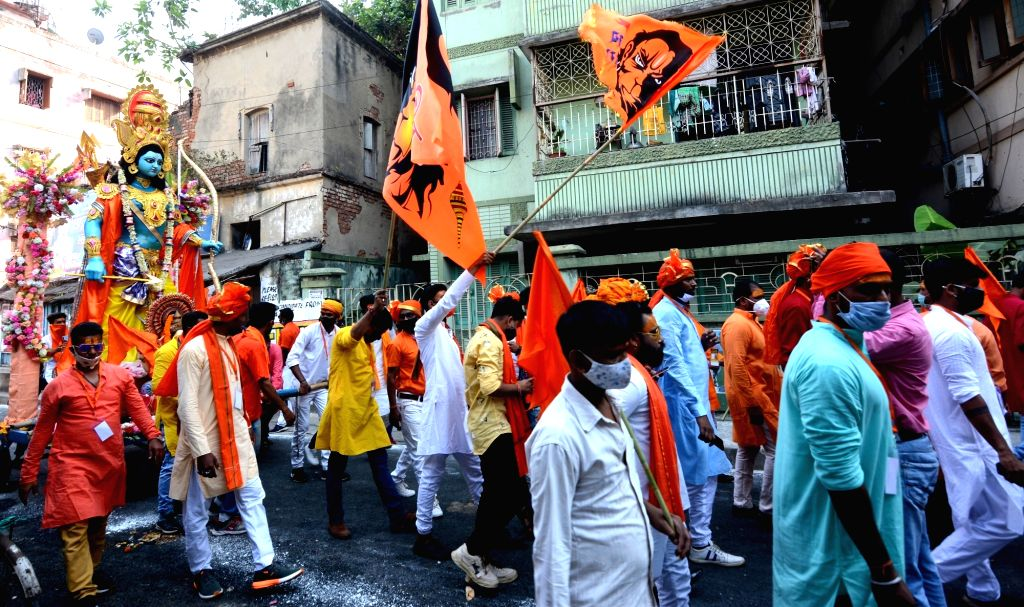 People took part in a rally on the occasion of Ram Navami festival in Kolkata on April 21, 2021.