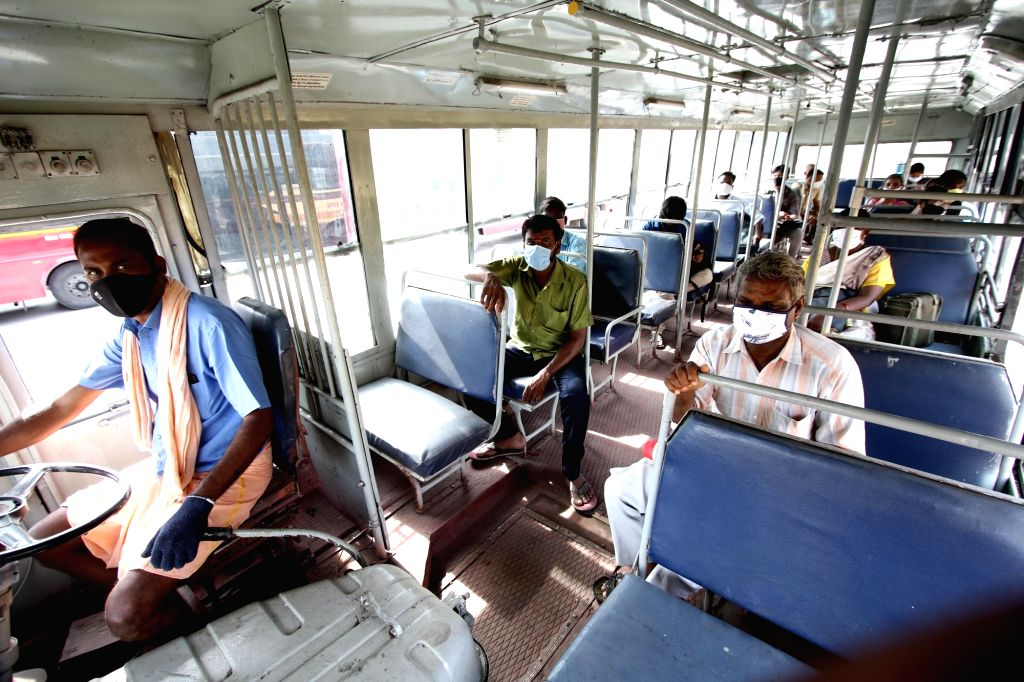 People travel in a bus after the Tamil Nadu Government permitted the resumption of public transport services across the state, in Chennai on Sep 1, 2020.