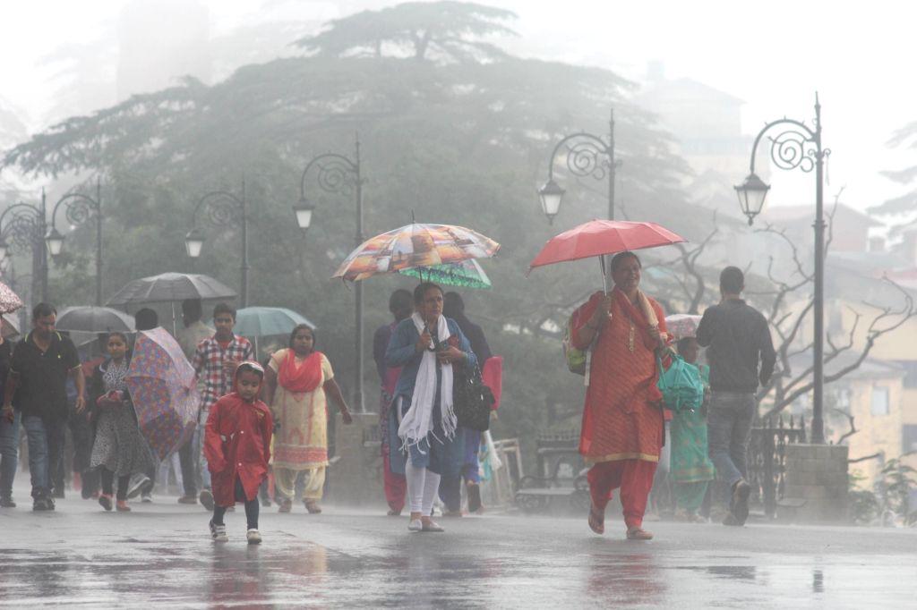 People use umbrellas to shield themselves as rains lash Shimla on July 23, 2018.