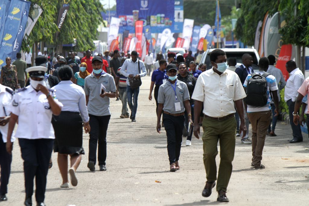 People visit the 44th Dar es Salaam International Trade Fair (DITF) in Dar es Salaam, Tanzania, on July 3, 2020. The 44th Dar es Salaam International Trade ... - Kassim Majaliwa