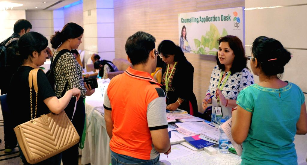 People visit the Australian Education Fair in Kolkata, on Aug 1 7, 2015.