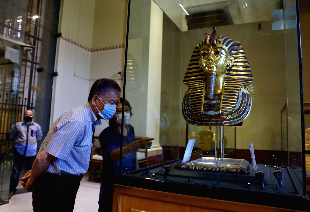 People visit the Egyptian Museum in Cairo, Egypt, on July 1, 2020. Egypt reopened on Wednesday the Egyptian Museum, the Giza Pyramids, and Temple of Luxor for the ...
