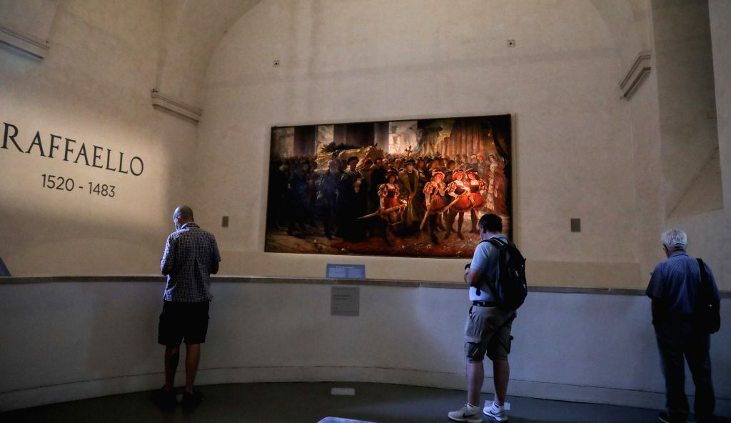 "People visit the exhibition ""Raffaello 1520-1483"" in Rome, Italy, July 2, 2020. The ""Raffaello 1520-1483"" exhibition, the largest-ever retrospective ..."