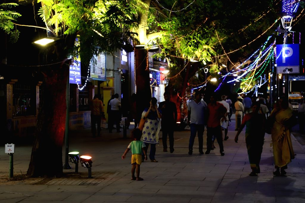 People visits the newly inaugurated T Nagar pedestrian plaza in Chennai on Nov 13, 2019.
