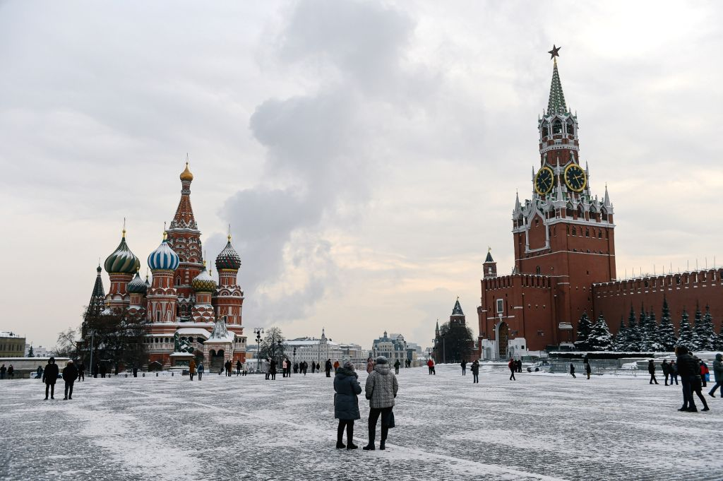 People walk in Red Square in Moscow, Russia, on Jan. 15, 2021.