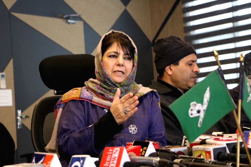 Peoples Democratic Party (PDP) President Mehbooba Mufti addresses a press conference in Srinagar on Feb 13, 2019. - Mehbooba Mufti