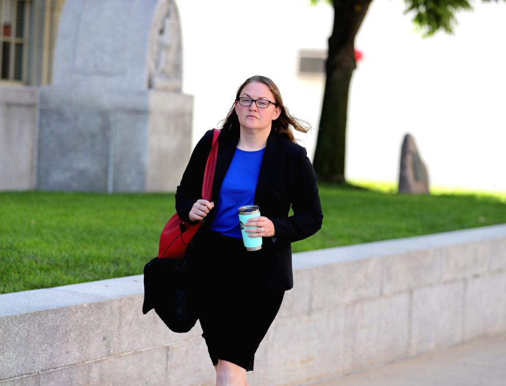 PEORIA (U.S.), July 17, 2019 Elisabeth Pollock, defense attorney for Brendt Christensen, heads to the federal courthouse building in Peoria, Illinois, the United States, on July 17, 2019. ...