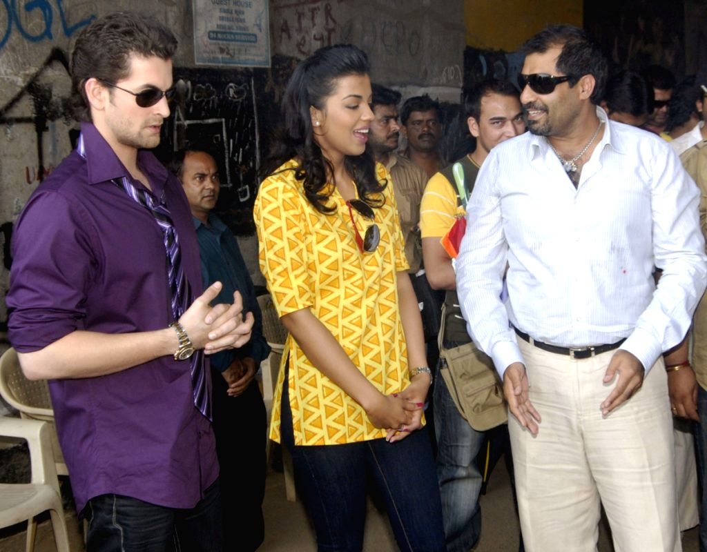 Percept Picture Company and Bhandarkar Entertainment's new venture Jail. Madhur Bhandarkar, Shailendra Singh the leads of the film Neil Nitin Mukesh and Mugdha Godse during the Mahurat of their l