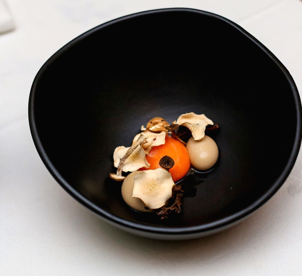 Perfect yolk, mushroom textures and consommee