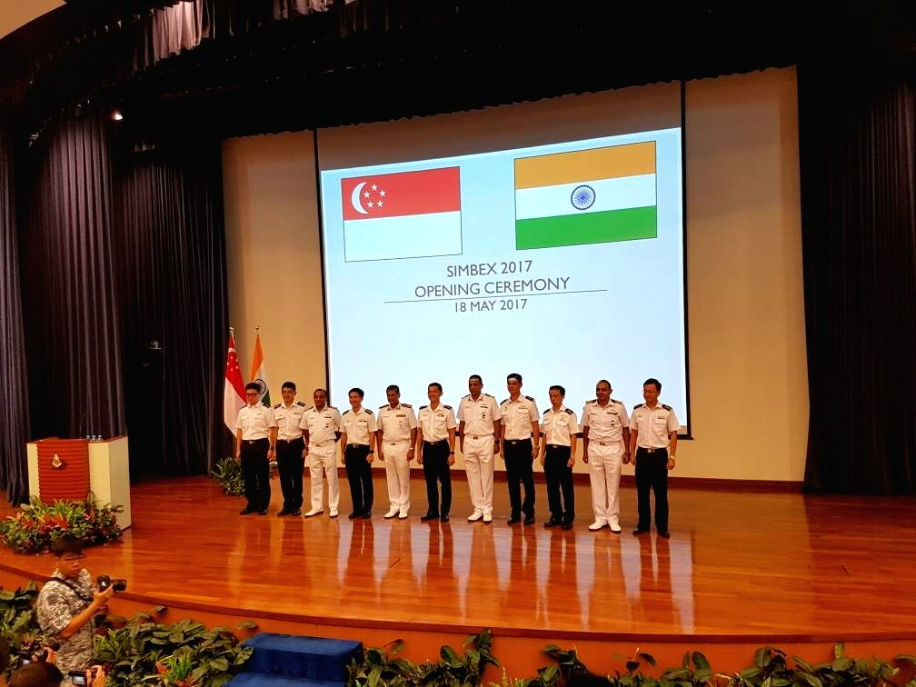 Personnel of the Indian Navy and the Singapore Navy during the opening ceremony of SIBEX 2017 in New Delhi on May 19, 2017.