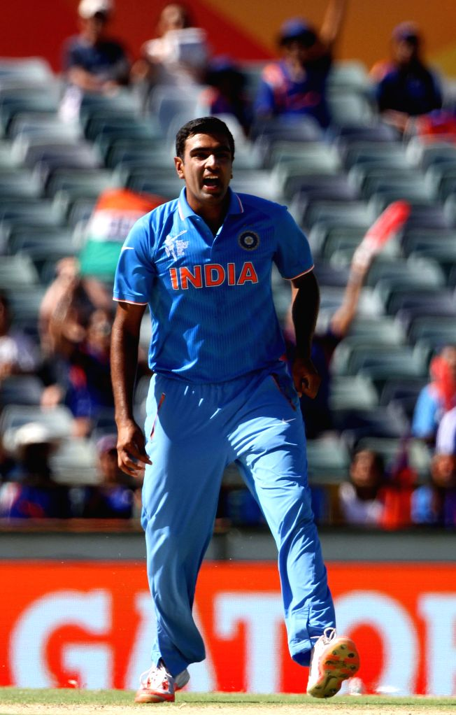 Indian bowler Ravichandran Ashwin during an ICC World Cup 2015 match between India and UAE at Western Australia Cricket Association Ground, Perth, Australia on Feb 28, 2015. - Ravichandran Ashwin