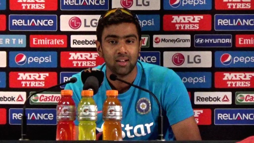 Indian cricketer Ravichandran Ashwin addresses a press conference ahead of a World Cup - 2015 match against West Indies in Perth, Australia on March 5, 2015.