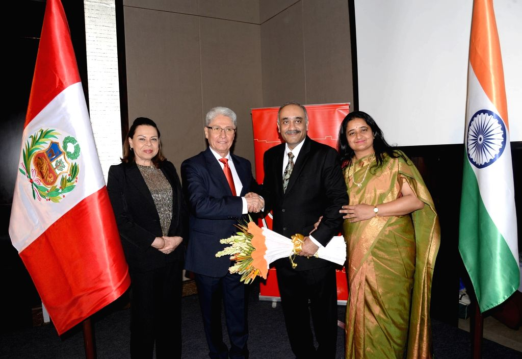 Peruvian Ambassador Carlos R. Polo and Honourary Consul in Bengaluru Vikram Vishwanath during a programme organised to celebrate the 198th anniversary of the Independence of the Republic ...