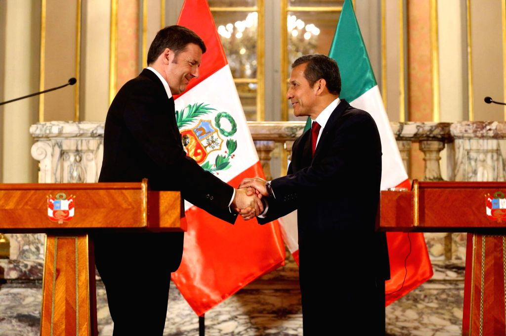 Peruvian President Ollanta Humala (R) shakes hands with visiting Italian Prime Minister Matteo Renzi during a joint press conference at the Government Palace in Lima, ... - Matteo Renzi