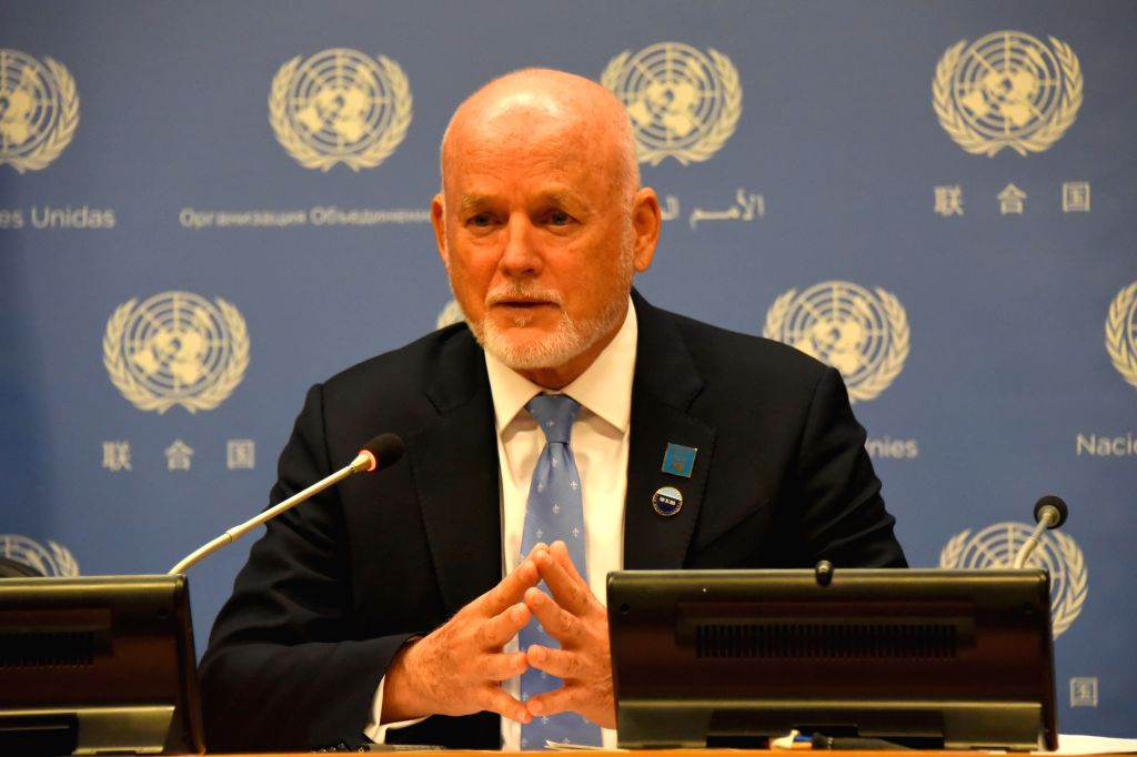 Peter Thomson, United Nations secretary-general's special envoy for the ocean, speaks at a press conference on the preparations for the 2020 UN Ocean ...