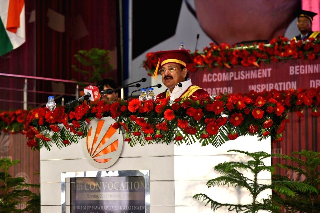 : Phagwara: Vice President M. Venkaiah Naidu addresses at the 9th Convocation of Lovely Professional University in Phagwara, Punjab, on Oct 22, 2018. (Photo: IANS/PIB).