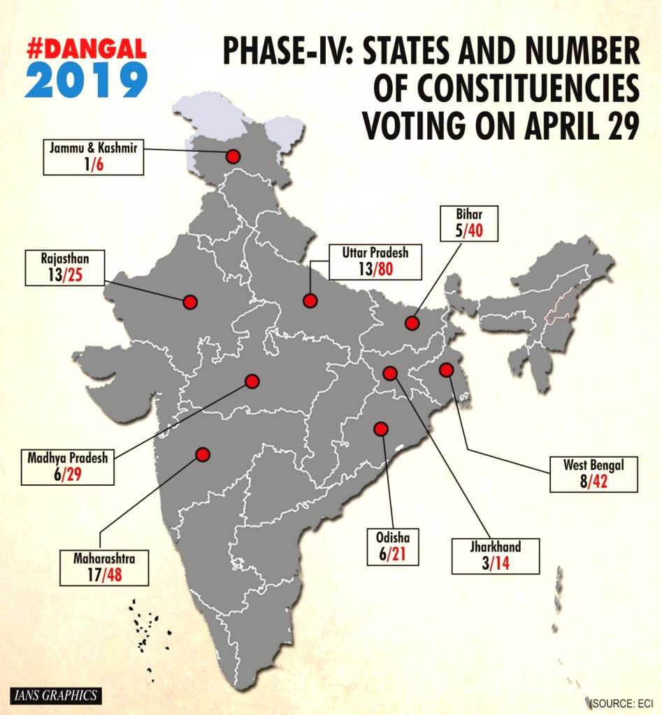 Phase IV: States and number of constituencies voting on April 29.