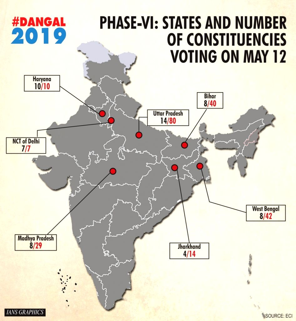 Phase VI: States and number of constituencies voting on May 12.