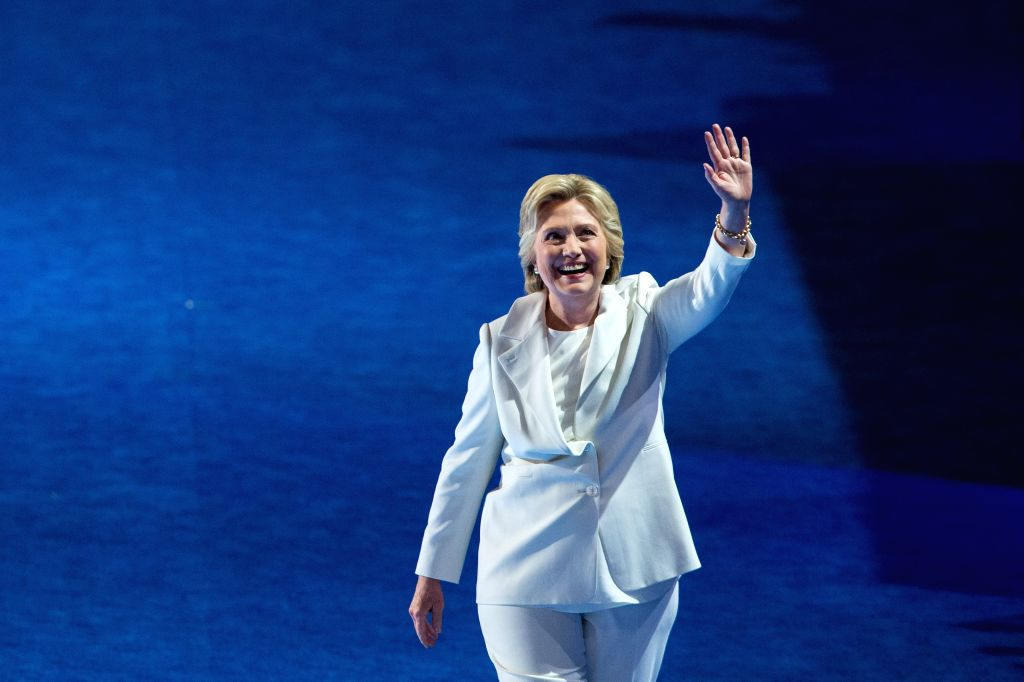 PHILADELPHIA, Aug. 2, 2016 - U.S. Democratic Presidential Candidate Hillary Clinton gestures to spectators on the last day of the 2016 U.S. Democratic National Convention at Wells Fargo Center, ...