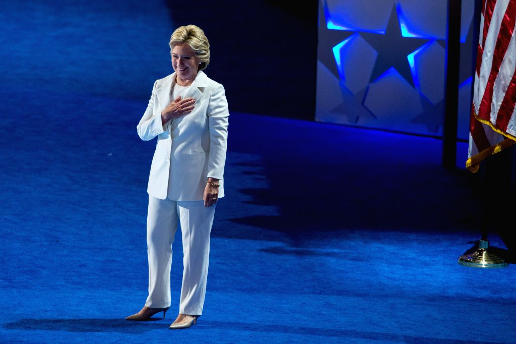 PHILADELPHIA, Aug. 2, 2016 - U.S. Democratic Presidential Candidate Hillary Clinton takes the stage on the last day of the 2016 U.S. Democratic National Convention at Wells Fargo Center, ...