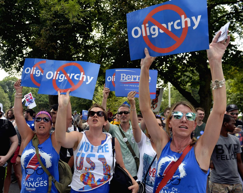 PHILADELPHIA, July 25, 2016 - Supporters of Bernie Sanders protest outside the Wells Fargo Center, where the Democratic National Convention is held, in Philadelphia, Pennsylvania, the United States, ...