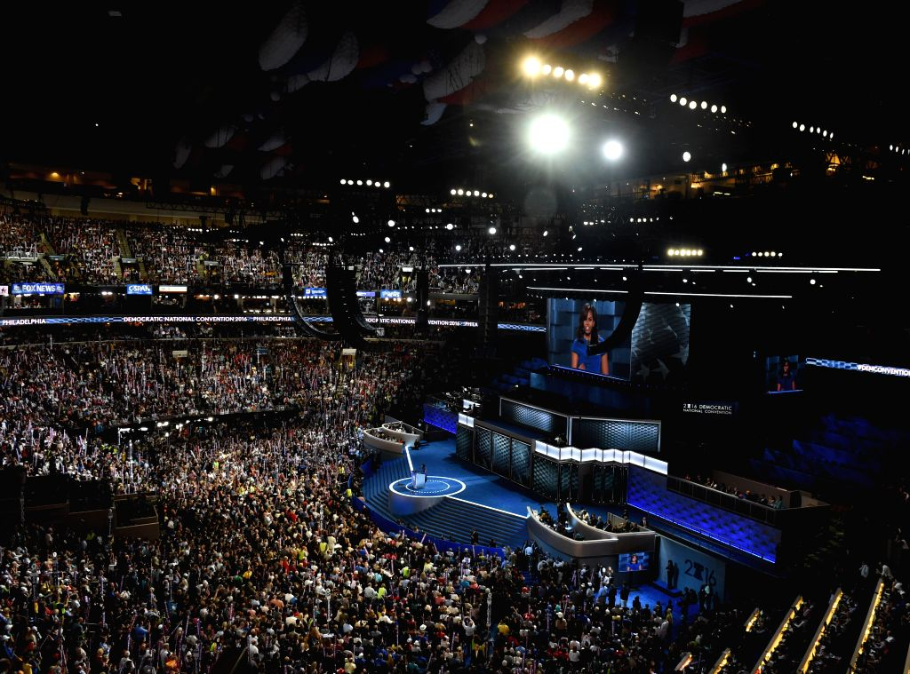 PHILADELPHIA, July 26, 2016 - U.S. First Lady Michelle Obama delivers a speech on the first day of the 2016 Democratic National Convention in Philadelphia, Pennsylvania, the United States, on July ...