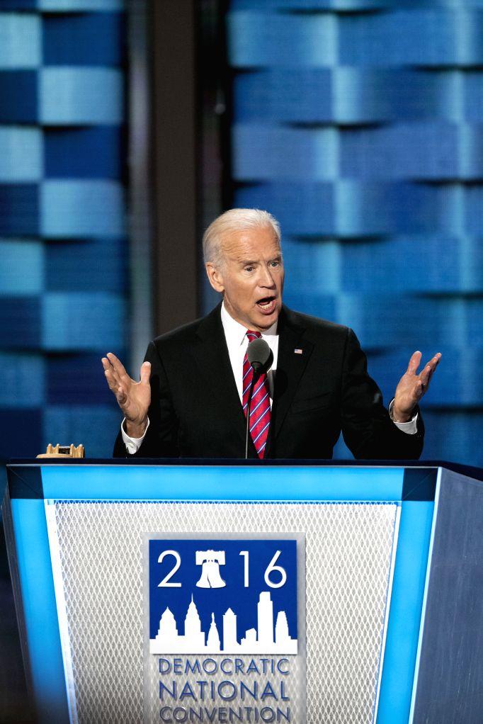 PHILADELPHIA, July 28, 2016 - U.S. Vice President Joe Biden addresses the 2016 U.S. Democratic National Convention at Wells Fargo Center, Philadelphia, Pennsylvania, the United States on July 27, ...