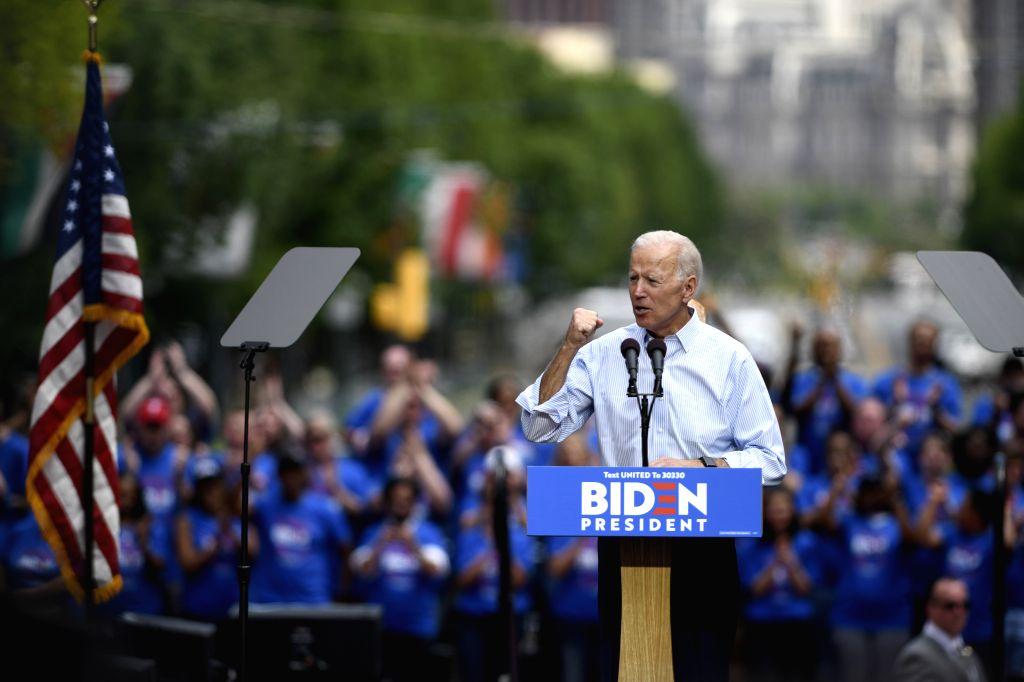 PHILADELPHIA, May 19, 2019 (Xinhua) -- Former U.S. Vice President Joe Biden speaks during a rally in Philadelphia May 18, 2019. Joe Biden on Saturday kicked off his running campaign for the 2020 presidential election in Philadelphia. (Xinhua/Liu Jie/