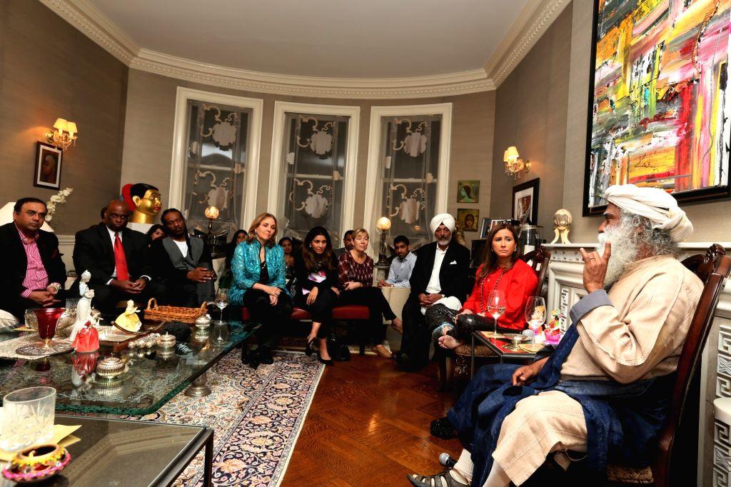 Philanthropist Jaggi Vasudev aka Sadhguru during a Giving Back Foundation programme in in Jersey City, US on Nov 2, 2015.