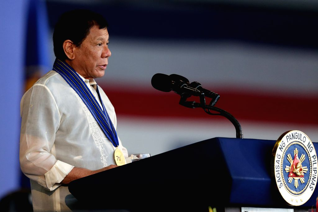 Philippines President Rodrigo Duterte speaks during the 70th anniversary of the Philippine Air Force (PAF) at Clark Air Base in Pampanga Province, the ...