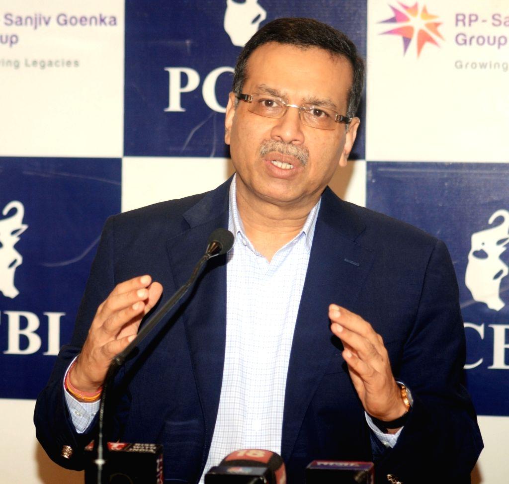 Phillips Carbon Black Ltd (PCBL) and RP-Sanjiv Goenka Group Chairman Sanjiv Goenka addresses a press conference in Kolkata on July 27, 2018. - Sanjiv Goenka