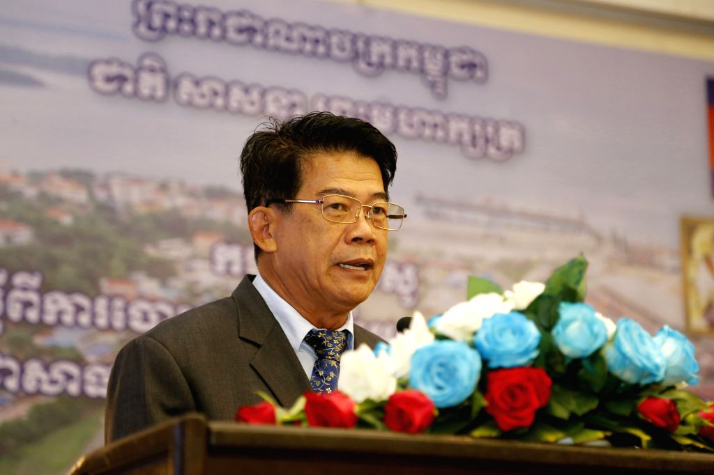 PHNOM PENH, April 25, 2017 - Lou Kim Chhun, chairman of the Sihanoukville Autonomous Port (PAS), speaks during the launching ceremony of its initial public offering (IPOs) in Phnom Penh, Cambodia, on ...