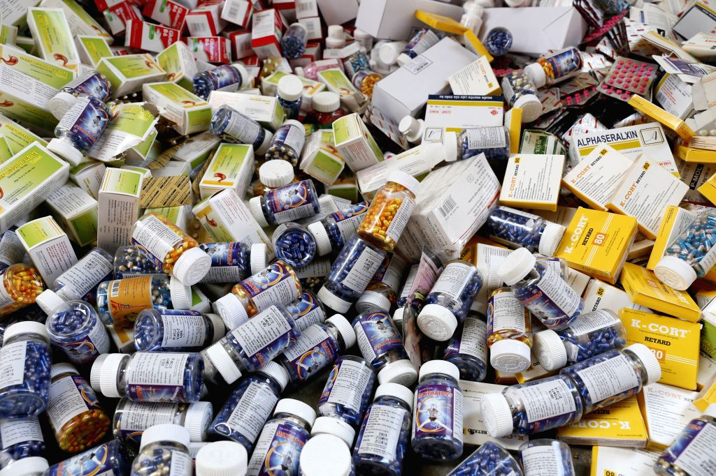 Phnom Penh (Cambodia): Photo shows the fake medicine in Phnom Penh, Cambodia. About 5.1 tonnes of counterfeit medicine were burned down on Friday on the outskirts of capital Phnom Penh by police. ...