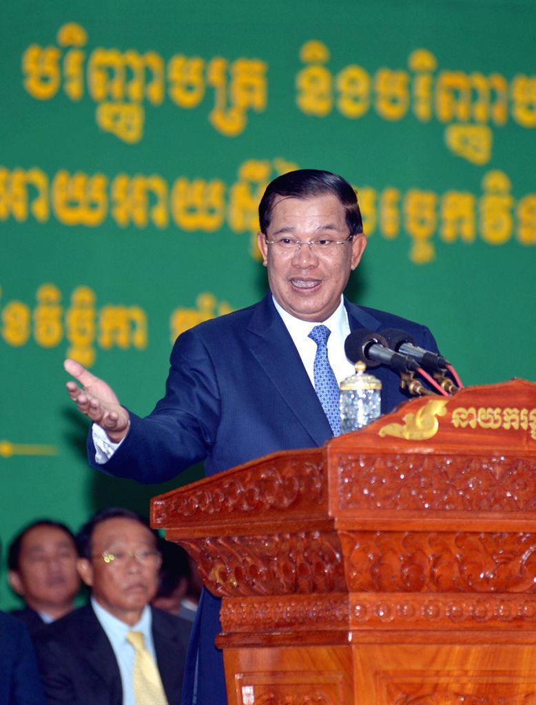 Phnom Penh: Cambodian Prime Minister Hun Sen speaks in Phnom Penh, Cambodia, Nov. 20, 2014. Hun Sen said on Thursday that he and his government have no rights to order the courts to arrest or release - Hun Sen