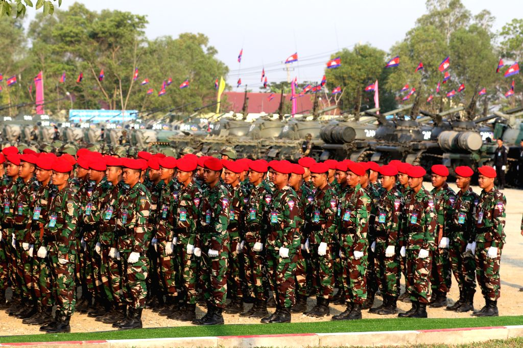 PHNOM PENH, Jan. 25, 2019 - Cambodian troops stand in line during a ceremony in Phnom Penh Jan. 24, 2019. Cambodia on Thursday celebrated the 20th anniversary of the founding of the Royal Cambodian ...