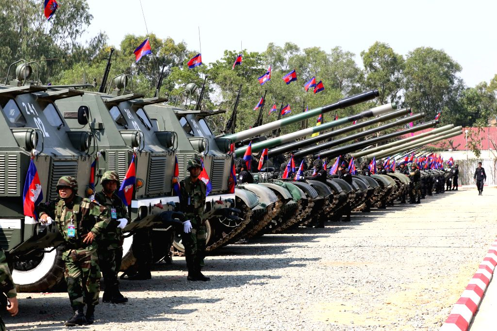 PHNOM PENH, Jan. 25, 2019 - Military vehicles and tanks are exhibited during an event marking the 20th anniversary of the Royal Cambodian Army in Phnom Penh Jan. 24, 2019. Cambodia on Thursday ...