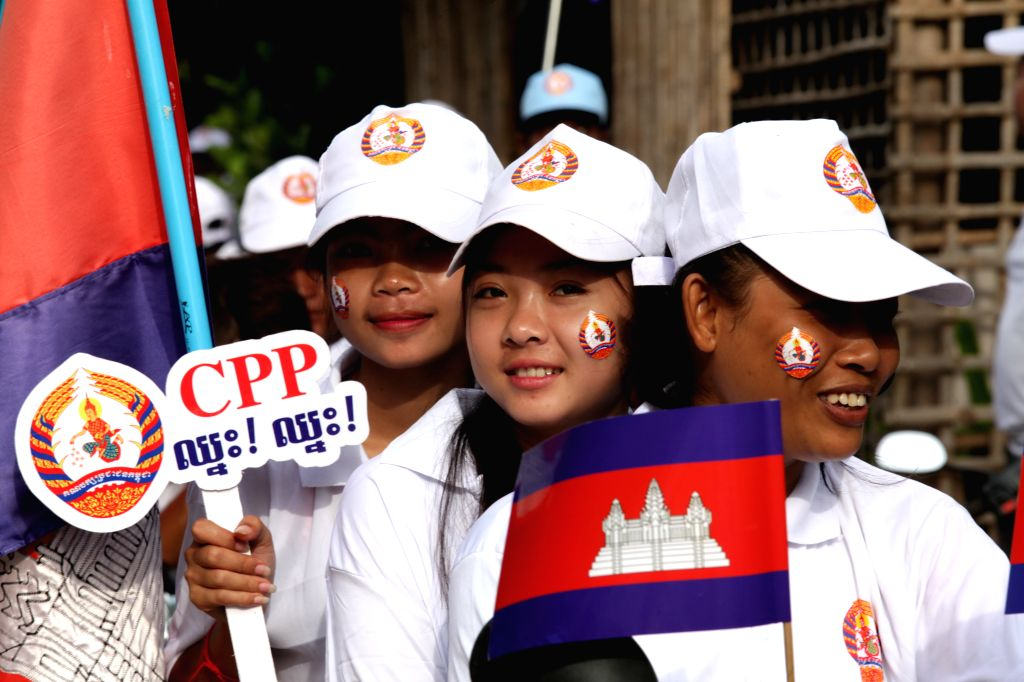 PHNOM PENH, July 27, 2018 - Supporters of the ruling Cambodian People's Party (CPP) attend a massive rally of the CPP in Phnom Penh July 27, 2018. Cambodian Prime Minister Samdech Techo Hun Sen, ... - Samdech Techo Hun Sen