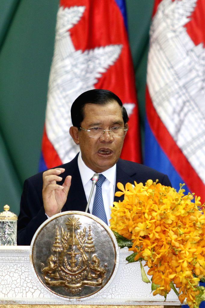 PHNOM PENH, June 22, 2016 - Cambodian Prime Minister Samdech Techo Hun Sen addresses an awarding ceremony in Phnom Penh, Cambodia, June 22, 2016. The European Council on Tourism and Trade (ECTT) on ... - Samdech Techo Hun Sen
