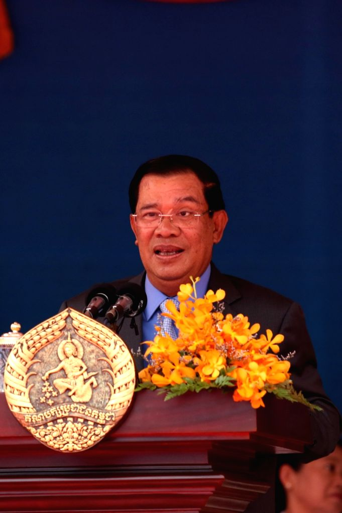PHNOM PENH, June 28, 2016 - Cambodian Prime Minister and President of the ruling People's Party (CPP) Samdech Techo Hun Sen speaks during a ceremony to mark the 65th anniversary of the CPP's founding ...