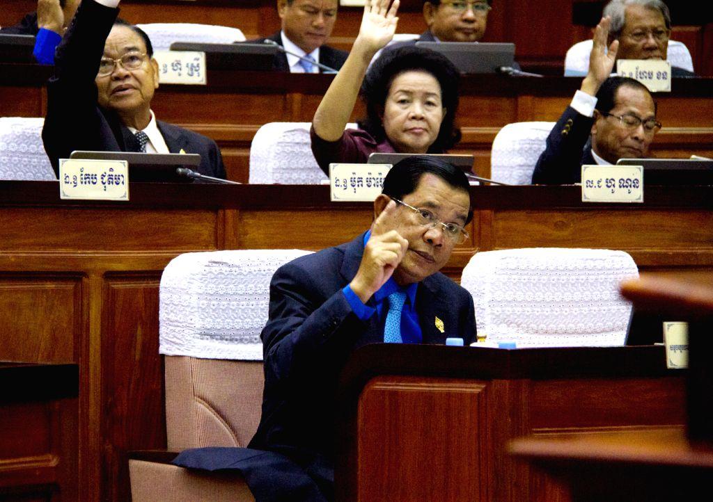 PHNOM PENH, June 30, 2016 - Cambodian Prime Minister Samdech Techo Hun Sen (front) attends a National Assembly session in Phnom Penh, Cambodia, June 30, 2016. The National Assembly of Cambodia on ... - Samdech Techo Hun Sen