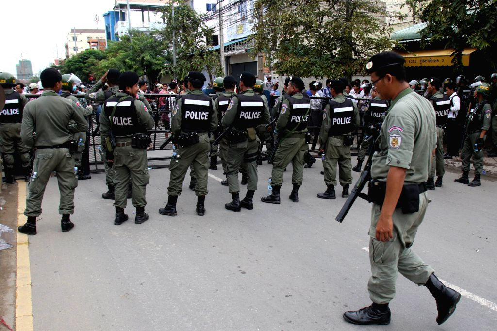 PHNOM PENH, May 30, 2016 - Cambodian security forces block a road to prevent opposition activists from marching to the Royal Palace in Phnom Penh, Cambodia, May 30, 2016. Opposition Cambodia National ...
