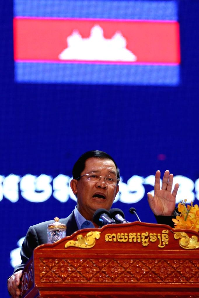 PHNOM PENH, May 31, 2016 - Cambodian Prime Minister Samdech Techo Hun Sen speaks during the celebration of the June 1 Children's Day in Phnom Penh, Cambodia, on May 31, 2016. Cambodian Prime Minister ... - Samdech Techo Hun Sen