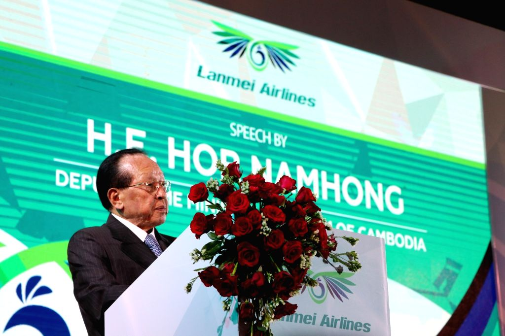 PHNOM PENH, Oct. 10, 2017 - Cambodian Deputy Prime Minister Hor Namhong speaks during the launching ceremony of Lanmei Airlines in Phnom Penh, Cambodia, on Oct. 9, 2017. Lanmei Airlines (Cambodia), a ... - Hor Namhong