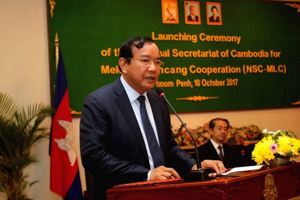 PHNOM PENH, Oct. 10, 2017 - Cambodian Foreign Minister Prak Sokhonn delivers a speech during the launching ceremony of the National Secretariat of Cambodia for Lancang-Mekong Cooperation (LMC) in ... - Prak Sokhonn