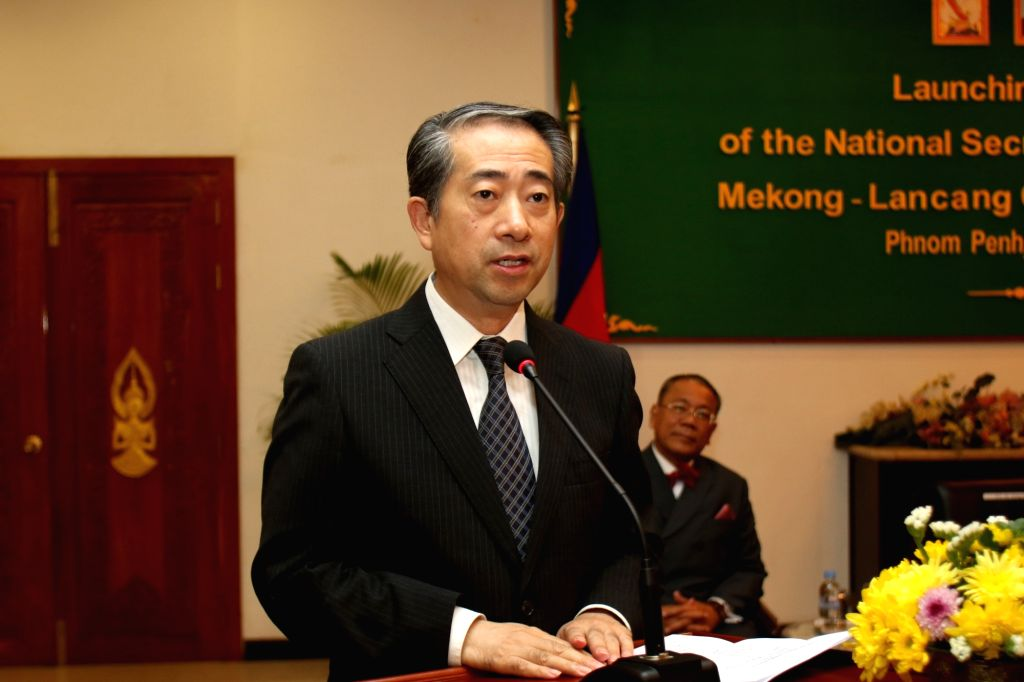 PHNOM PENH, Oct. 10, 2017 - Chinese Ambassador to Cambodia Xiong Bo delivers a speech during the launching ceremony of the National Secretariat of Cambodia for Lancang-Mekong Cooperation (LMC) in ... - Prak Sokhonn